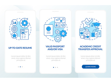 Internship abroad demands onboarding mobile app page screen preview picture