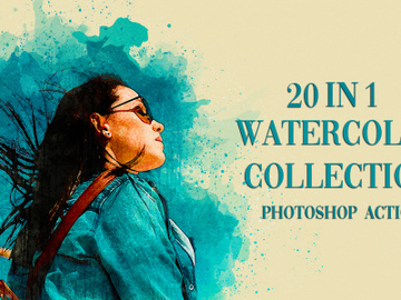 20 in 1 Watercolor Photoshop Actions preview picture
