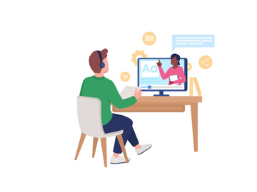 Man in headphones listen to audio course flat color vector faceless character preview picture