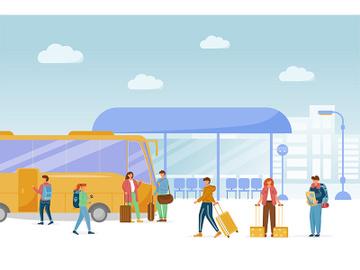 Bus station platform flat vector illustration preview picture