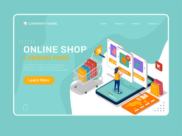 Online shop landing page illustration template. preview picture