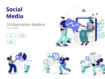 Social Media flat illustration preview picture