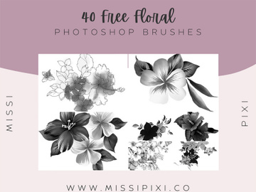 40 Floral Photoshop Brushes preview picture