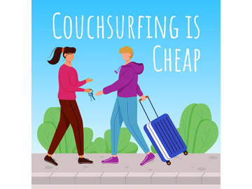 Couchsurfing is cheap social media post mockup preview picture