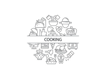 Food cooking abstract linear concept layout with headline preview picture