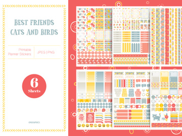 Best Friends - Cats and Birds Planner Stickers preview picture