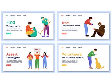 Voluntary activities landing page vector templates set preview picture