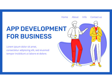 App development for business landing page vector template preview picture