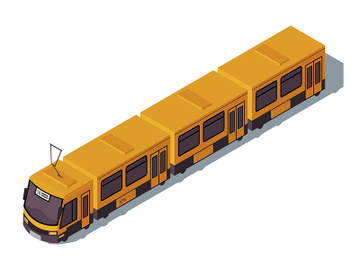 Tram isometric color vector illustration preview picture