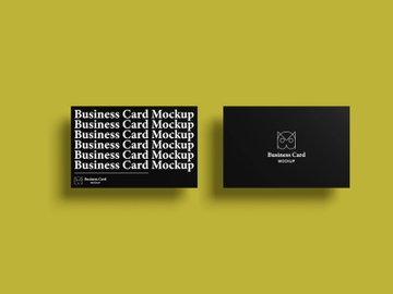 Top view premium business card PSD mockup preview picture