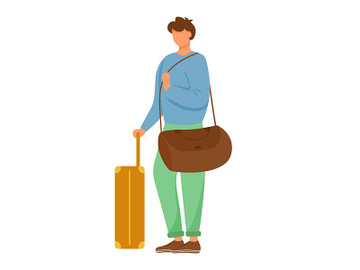 Man traveler flat vector illustration preview picture