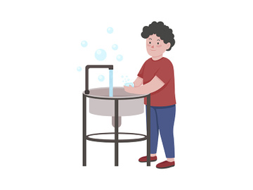 Little boy washing hands with soap with semi flat color vector character preview picture
