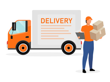 Delivery van driver with parcels flat character preview picture