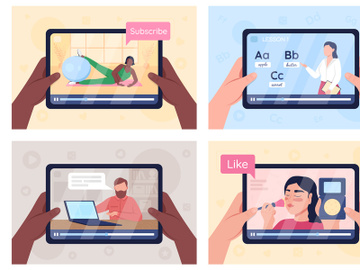 Online tutorials on tablet screen flat color vector illustration set preview picture