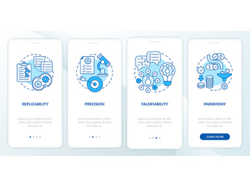 Scientific method requirements onboarding mobile app page screen with concepts preview picture