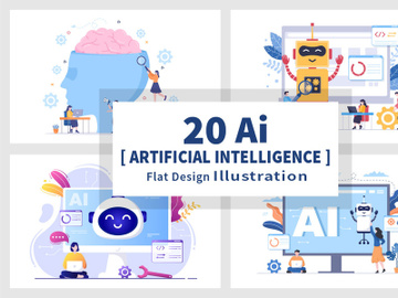 20 Artificial Intelligence Digital Brain Technology Vector Illustration preview picture