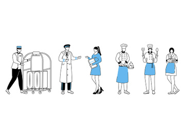 Hotel workers flat vector illustration preview picture