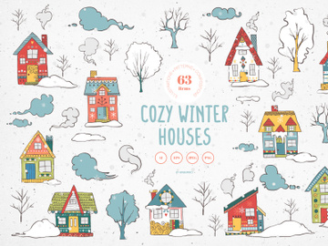 Cozy Winter Houses Vector Illustrations preview picture