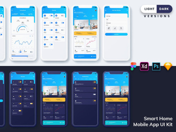 Smart Home Mobile App UI (Light & Dark) preview picture