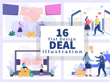16 Two Businessmen Reach a Deal Shaking Hands Vector preview picture
