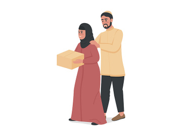 Couple donating food to charity semi flat color vector characters preview picture