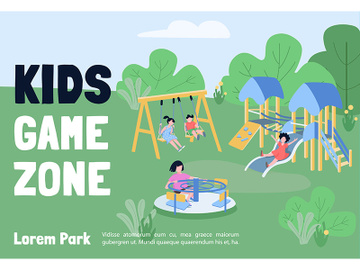 Kids game zone banner flat vector template preview picture