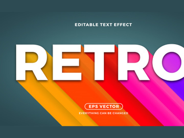 Retro long shadow editable text vector template preview picture