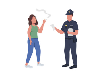 Policeman giving fine for smoking semi flat color vector characters preview picture