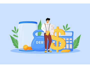 Tax calculator flat concept vector illustration preview picture