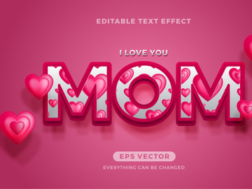 Mom editable text effect vector template preview picture