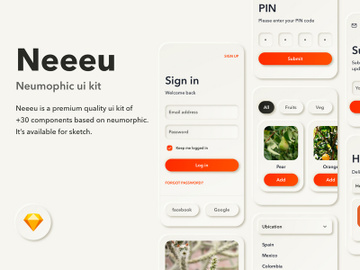 Neumorphic UI Kit for Sketch preview picture