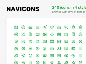 Navicons - icon set in 4 style preview picture
