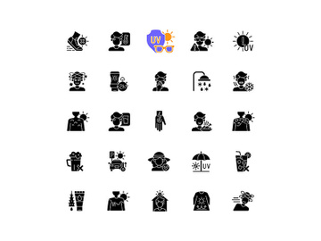 Sunburn and sunstroke prevention black glyph icons set on white space preview picture