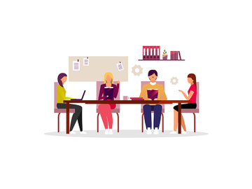 Office workers brainstorming, teamwork flat illustration preview picture