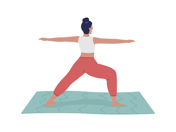 Female yoga instructor semi flat color vector character preview picture