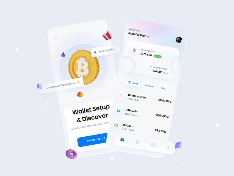 Cryptocurrency Wallet App Concept