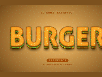 Burger editable text effect vector template preview picture