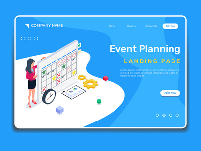 Event planning illustration. Business landing page template.