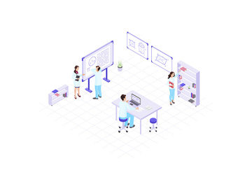 Scientists, chemists, academics, research workers isometric color vector illustration preview picture