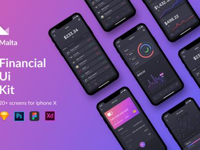 Malta Financial IOS app UI Kit by Shourov Chowdhury ~ EpicPxls