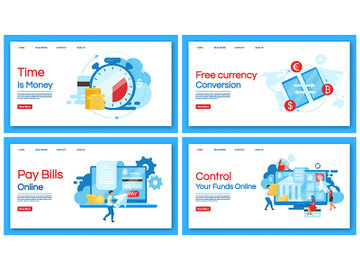 Banking service landing page vector template preview picture