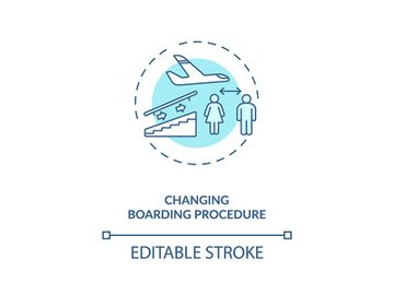 Changing boarding procedure concept icon preview picture