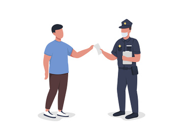 Police officer hands over paper to witness semi flat color vector characters preview picture