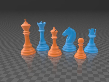 Classic Chess Set Pieces - 3D Printable Model preview picture