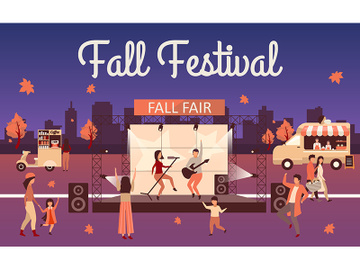 Night fall festival flat illustration preview picture