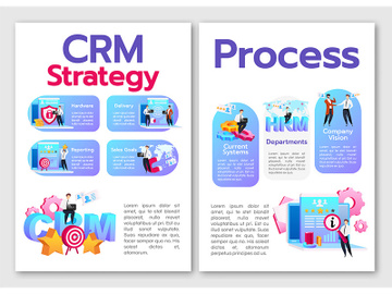 CRM strategy, process flat vector brochure template preview picture