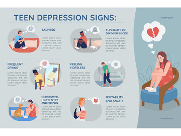 Teenager depression signs flat color vector infographic template preview picture