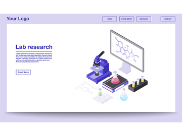 Lab research tools isometric webpage template preview picture