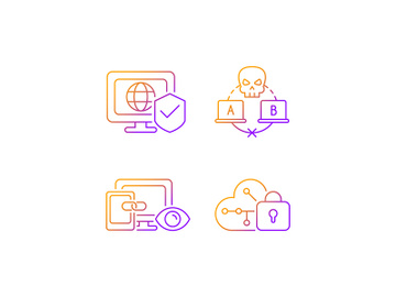 Internet privacy gradient linear vector icons set preview picture