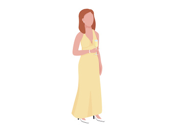 Woman in yellow luxury dress semi flat color vector character preview picture